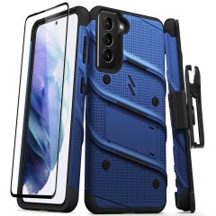 Equip your Samsung Galaxy S21 with military grade protection and superb functionality with the ultra-rugged Bolt case and screen protector in Blue from Zizo. Coming complete with a handy belt clip and integrated kickstand. Feel secure with Zizo.