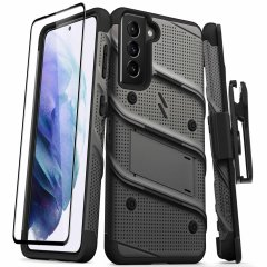 Equip your Samsung Galaxy S21 with military grade protection and superb functionality with the ultra-rugged Bolt case and screen protector in grey from Zizo. Coming complete with a handy belt clip and integrated kickstand. Feel secure with Zizo.