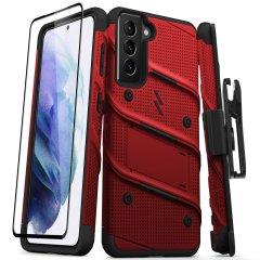 Zizo Bolt Samsung Galaxy S21 Tough Case & Screen Protector - Red