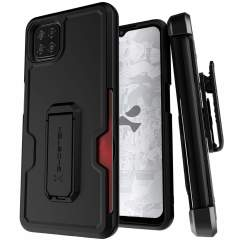 The sleek, Samsung Galaxy A12 Iron Armor 3 case in Black from Ghostek provides your device with fantastic all-around protection from scrapes, bumps and up to 12ft drops. It also features a card slot for added convenience & a kickstand for viewing media.