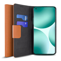 Olixar Leather-Style OnePlus 9 Wallet Stand Case - Brown