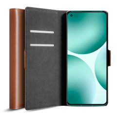 Olixar Genuine Leather Oneplus 9 Wallet Stand Case - Brown