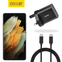 Olixar Samsung S21 Ultra 18W PD Wall Charger & 1.5m USB-C to C Cable