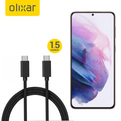 Olixar Samsung Galaxy S21 100W Braided USB-C To C Cable - 1.5m - Black