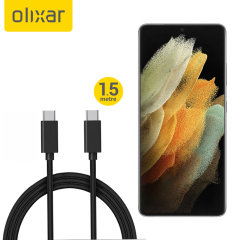 With this Black Olixar 100W 1.5m USB-C cable, charge your Samsung Galaxy S21 Ultra at impressive speeds. What's more, quickly sync and transfer data up to 480 Mbps! Features a durable braided design to prevent breakage and keeps your cable tangle free.