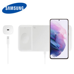 This Official Galaxy S21 Wireless Trio Charger looks great, has fast-charging capability and uniquely, has room to hold 3 devices at once! Whether it's your phone, smartwatch or earbuds, this charger will charge them quickly, effectively and safely.
