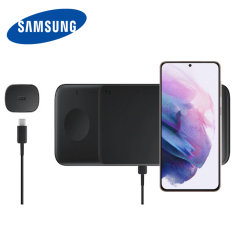 This Official Galaxy S21 Wireless Charger looks great, has fast charging capability and uniquely, has room to hold 3 devices at once! Whether it's your phone, smartwatch or earbuds, this charger can charge them quickly, effectively and safely!