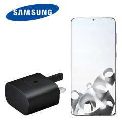 An Official Samsung UK adaptive fast mains charger for your Samsung Galaxy S21 Plus. With a power output of 25W, you'll have battery within minutes. This is the exact that charger that comes with these phones, providing 100% safe & effective charging.