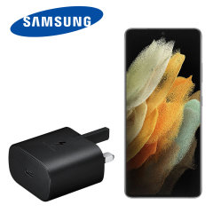 An Official Samsung UK Power Delivery fast mains charger for your Samsung Galaxy S21 Ultra. With a power output of 25W, you'll have battery within minutes. This is the exact charger that comes with these phones, providing 100% safe & effective charging!