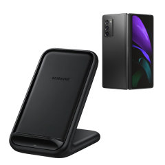 Wirelessly charge your Samsung Galaxy Z Fold 2 5G smartphone with Wireless Fast Charge technology using this official Samsung Qi Wireless Charging Pad in black.