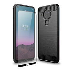 This Olixar Sentinel Carbon Fibre case with a rugged, matte finish in black keeps your Nokia 5.4 protected from scrapes & bumps with the added bonus of a tempered glass screen protector for 100% protection.