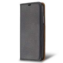 Samsung Galaxy A12 Leather-Style Wallet Stand Case - Black