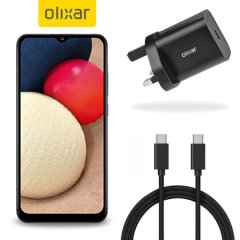 Charge your A02s quickly and safely with this Olixar Black 18W USB-C PD fast mains charger and 1.5m USB-C to C Cable. The compact and portable plug, alongside the braided cable allows you to enjoy fast-charging at home, in the office or on-the-go!