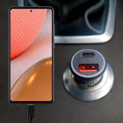 Keep your Galaxy A72 fully charged on the road with this Olixar fast charging 36W PD & QC dual USB Car Charger with an included 1m black USB-C to USB charging cable. Feel secure your A72 will charge safely & quickly on your journey with Olixar!