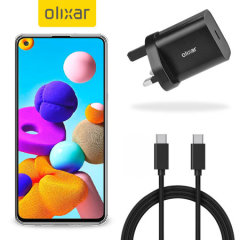 Charge your A21S quickly and safely with this Olixar Black 18W USB-C PD fast mains charger and 1.5m USB-C to C Cable. The compact and portable plug, alongside the braided cable allows you to enjoy fast-charging at home, in the office or on-the-go!