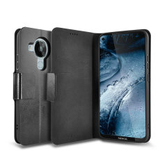 Olixar Leather-Style Nokia 7.3 5G Wallet Stand Case - Black