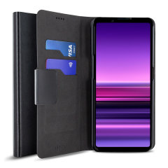 Olixar Leather-Style Sony Xperia 1 III Wallet Stand Case - Black