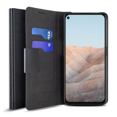 Olixar Leather-Style Google Pixel 5a Wallet Stand Case - Black