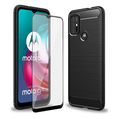 Olixar Sentinel Motorola Moto G30 Case & Glass Screen Protector- Black