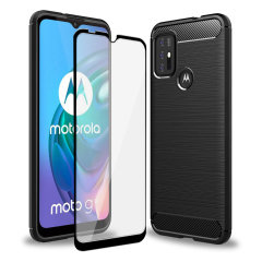 Olixar Sentinel Motorola Moto G10 Case & Glass Screen Protector- Black