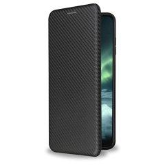 Olixar Carbon Fibre Nokia G10 Protective Wallet Case - Black