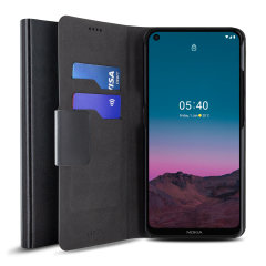 Olixar Leather-Style Nokia 3.4 Wallet Stand Case - Black