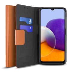 Olixar Leather-Style Samsung Galaxy A22 5G Wallet Case - Brown
