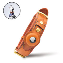 Olixar Genuine Leather Pet Collar With AirTags Holder - Brown