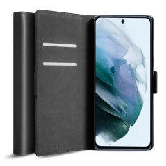 Olixar Genuine Leather Samsung Galaxy S21 FE Wallet Stand Case - Black