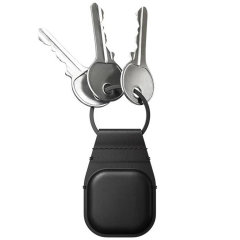 Nomad Apple AirTags Horween Leather Secure Keychain - Black