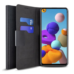 Olixar Leather-Style Samsung Galaxy A22 4G Wallet Case - Black