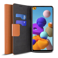 Olixar Leather-Style Samsung Galaxy A22 4G Wallet Case - Brown