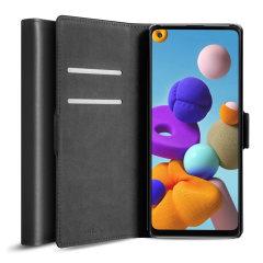 Olixar Genuine Leather Samsung Galaxy A22 4G Wallet Case - Black
