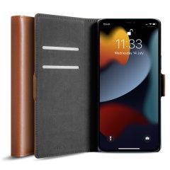 Olixar Genuine Leather iPhone 13 Pro Max Wallet Case - Brown
