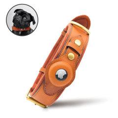 Olixar Apple AirTags Genuine Leather Small Pet Collar - Brown