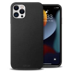 Olixar Genuine Leather iPhone 13 Pro Max Slim Case - Black