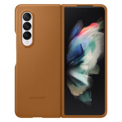 Official Samsung Galaxy Z Fold 3 Genuine Leather Cover Case - Camel