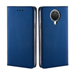 Leather-Style Nokia G20 Wallet Stand Case - Navy Blue