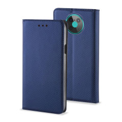 Olixar Leather-Style Nokia 6.3 Wallet Stand Case - Navy Blue