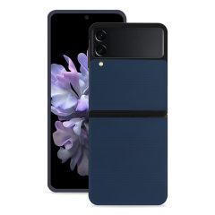 Olixar Genuine Leather Samsung Galaxy Z Flip 3 Case - Navy Blue