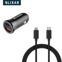 Olixar Dual 36W  PD Car Charger & 1.5m USB-C to Lightning Cable