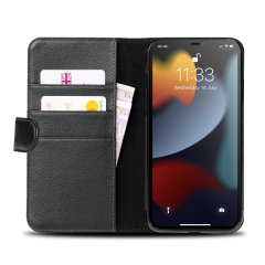 Olixar Genuine Leather iPhone 13 Pro Max Wallet Stand Case - Black