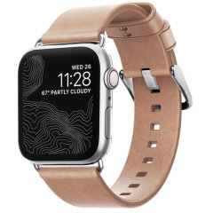 Nomad Apple Watch Series 7 41mm Natural Leather Strap - Silver