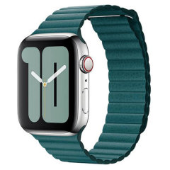 Official Apple Watch 44mm Leather Loop Strap - Peacock
