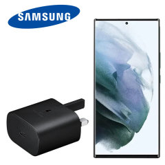 Official Samsung Galaxy S22 Ultra 25W PD USB-C UK Wall Charger - Black