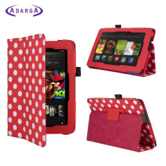 Adarga Folio Stand Kindle Fire HD Case - Red Polka Dot