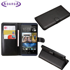 Adarga Leather-Style HTC Desire 816 Wallet Case - Black