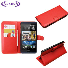 Adarga Leather-Style HTC Desire 816 Wallet Case - Red