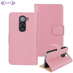 Adarga Leather-Style LG G2 Mini Wallet Case - Pink
