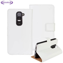 Adarga Leather-Style LG G2 Mini Wallet Case - White